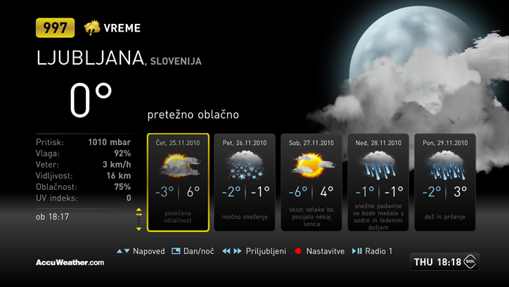 Weather Application on Netgem STB for Telekom Slovenia